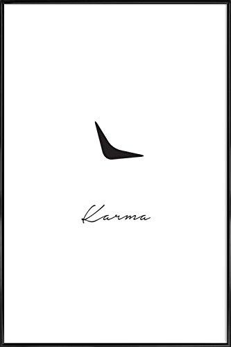 """JUNIQE® Typografie & Symbole Schwarz & Weiß Poster im Kunststoffrahmen 20x30cm - Design """"Karma"""" entworfen von Trabolt Design"""