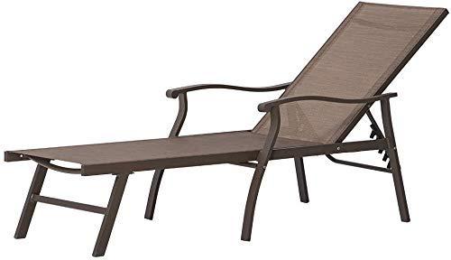 YXZQ Tumbona Plegable, Chaise Longue Ajustable de Aluminio Sillón reclinable de Cinco Posiciones y Completamente Plano al Aire Libre para Todo Clima para Patio, Playa, Patio, Piscina, Gris