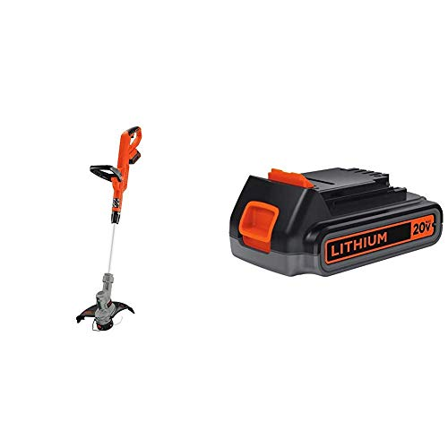Best Price BLACK+DECKER 20V MAX String Trimmer with Extra Lithium Battery 2.0 Amp Hour (LST300 & LBX...
