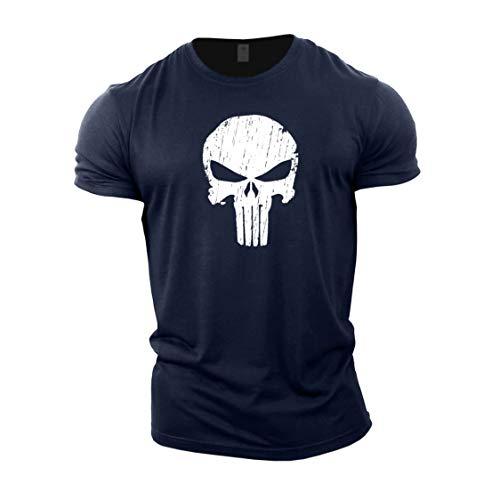Gymtier - Maglietta da uomo per bodybuilding, con disegno del teschio del Punitore, per allenamento in palestra Marina Militare XL