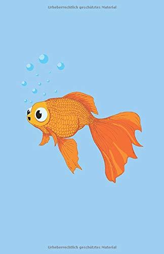 Goldfisch Notizbuch: mit süßem Goldfisch schwimmend im Goldfischaquarium 130 Seiten - Punkteraster. Journal - Planer - Tagebuch - Zeichenbuch - Skizzenbuch
