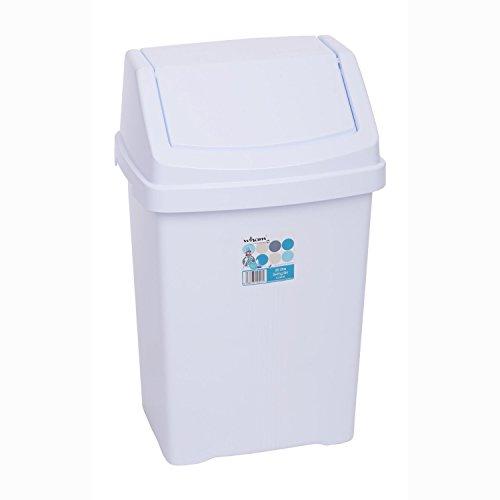 OC ORDEN EN CASA Y MUCHO MAS Papelera de baño con Tapa basculante 8L (Material: Plástico. Medidas: 19x20x37cm. Color: Blanco.)