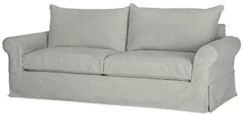 """The Cotton Sofa Cover Only (Width: 81""""~ 85"""", Not 92"""" !) Fits Pottery Barn PB Comfort Roll ARM Sofa (Not Grand Sofa). A Durable Slipcover Replacement. Light Gray (Knife Edge)"""