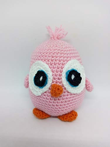 Peluche angry bird rosa hecho a mano a ganchillo (amigurumi)