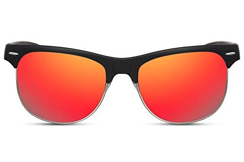 Cheapass Sonnenbrille Verspiegelt Schwarz Rot-Gold Halb-Rahmen Browline Groß Breit UV-400 Plastik Herren