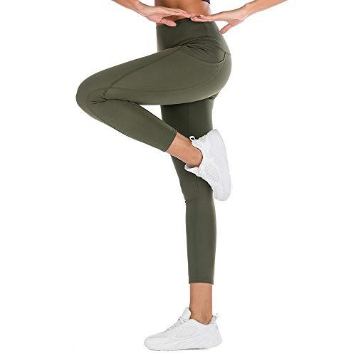 Bipily Leggings Donna Fitness, Pantaloni Sportivi Yoga Vita Alta Controllo della Pancia Opaco Elastici Morbido-Verde-L