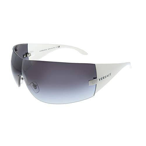 Versace VE 2054 10008G Silver Plastic Shield Sunglasses Grey Gradient Lens