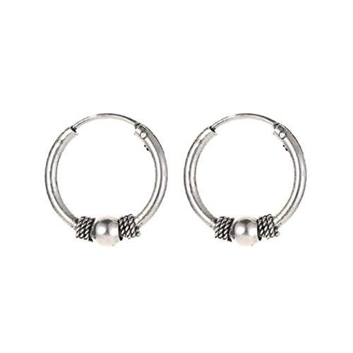 Faliya - Pendientes de aro con cuentas, diseño de círculo redondo pequeño para mujeres y adolescentes
