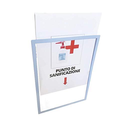 OMNIFANIA Frame A4 – Marco para avisos adhesivo reposicionable | Porta avisos Reposicionable y reutilizable (plata)