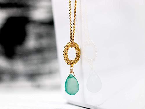 Edelstein-Kette vergoldet mit Aqua-Chalcedon grün-blau, Chalzedon-Birne an ovalem Kugelkranz, Kette mit Anhänger, Geschenk für Sie