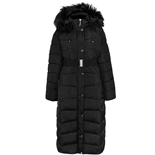 Fashion Thirsty New Womens Ladies Plus Size Long Quilted Padded Winter Jacket Coat Fur Trim Hood