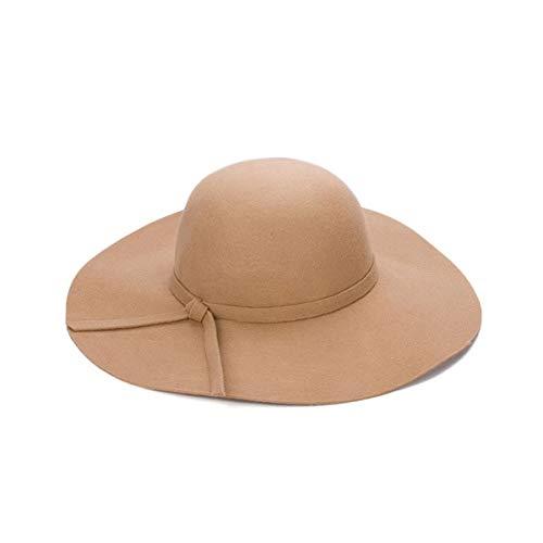 WAZHX Cappellino A Tesa Larga Cappelli A Cupola in Lana di Alta qualità Cappello A Cloche Nero da Donna 55-58Cm Kaki