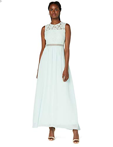 Amazon-Marke: TRUTH & FABLE Damen Maxi-Spitzenkleid, Grün (Celadon Green), 38, Label:M