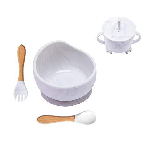 N-B Vajilla para bebés, tazón de Silicona, Potente tazón con Ventosa, Cuchara de Horquilla de 4 Piezas, Kit de alimentación Infantil con Forma de Dibujos Animados