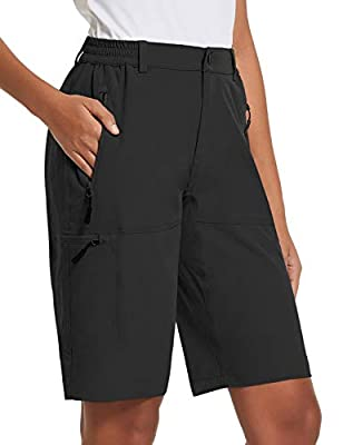 BALEAF Women's 10 Inches Quick Dry Stretch Hiking Cargo Shorts with Zippered Pockets UPF 50+ for Camping, Travel Black Size L