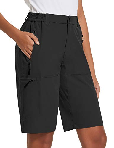 BALEAF Women's 10 Inches Quick Dry Stretch Hiking Cargo Shorts with Zippered Pockets UPF 50+ for Camping, Travel Black Size XL