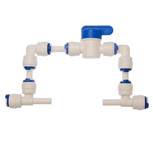 Installations-Set zum nachträglichen Einbau einer manuellen Spülfunktion für Umkehr-Osmoseanlagen mit 1/4 Zoll (6,35 mm) Schlauch | vormontiertes Spülventil - ohne Flow ( Durchflussbegrenzer )