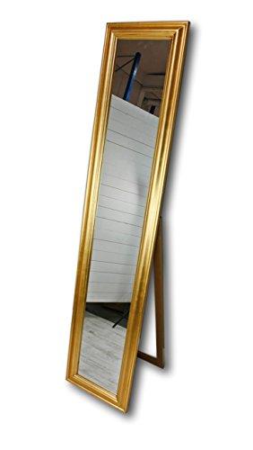 elbmöbel 180x40cm Standspiegel groß antik mit Patina | Spiegel mit Fuß barock Badspiegel (Gold, 180 x 40 cm)
