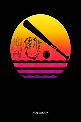 Baseball bat ball catcher batting gloves sunset Baseball Notebook: Notebook Planner, Daily Planner Journal, To Do List Notebook, Daily Organizer