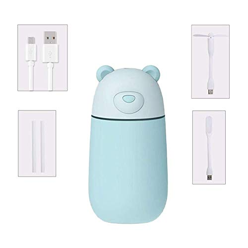 QIYUE Portable Cute Bear Shape luchtbevochtiger Met USB-ventilator USB licht 3-in-1 Home desktop Mist luchtbevochtiger Best Gift For slaapkamer woning Kamer Auto van het Bureau van de baby en jonge ki