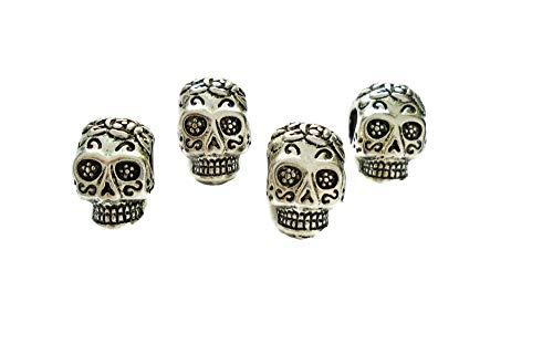Sugar Skull Día de Muertos Large Hole Halloween Beads for Bracelets Paracord 4pcs