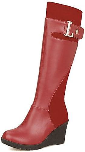 XZZ  Homme-Extérieure   Bureau & Travail   Décontracté-Noir   Marron   Rouge-Talon Compensé-Compensées   Bottes à la Mode-Bottes-Similicuir