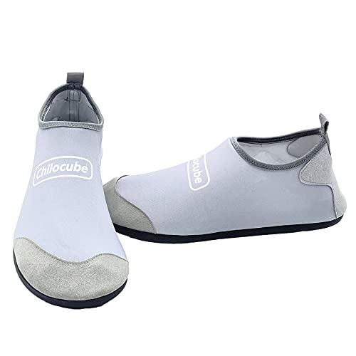 Hombres Mujeres Zapatos De Agua Snorkeling Beach Diving Sneakers Quick Dry Transpirable Antideslizante Zapatos De Natación Descalzos,Plata,36EU