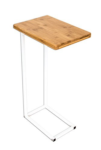 bonVIVO Designer Coffee Table DONNA, Side Table in Modern Combination of Stainless Steel and Natural Wood with Stainless Steel Frame in White