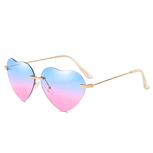Gafas de sol con forma de corazón para mujer sin montura marco de metal delgadas gafas de sol en forma de corazón UV400, (Bleu et Rose), Convient à toutes les formois de visage