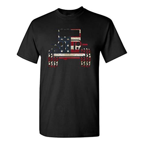 American Flag 4X4 on a Black Shirt