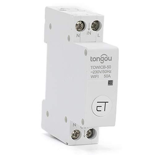 ZSGG WiFi Circuit Breaker, 1-Pole Plug-on Smart Switch Remote Control Work with Amazon Alexa Google Home (APP: eWeLink), 16A/32A/40A/50A, 230 VAC