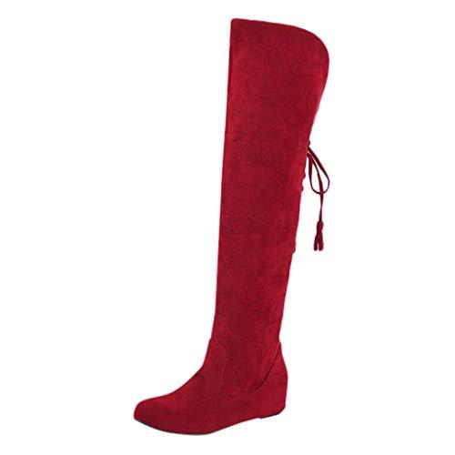 DreamedU Botas De Nieve De Invierno Para Mujer Casual Elegantes Invierno Zapatos por Encima De La Rodilla Y Los Tacones Con Pendiente Aumentan El Calor 201020