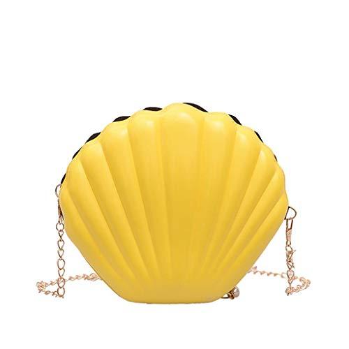 VJGOAL Damen Rucksack, Frauen Mädchen Mode Muscheltasche Volltonfarbe Kette Schulter Messenger Bag … (One size, Gelb)