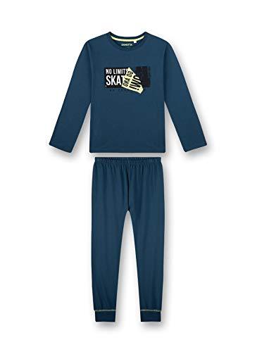 Sanetta Jungen Schlafanzug lang blau Pyjamaset, Blue Teal, 128