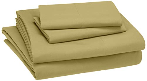 AmazonBasics Kid's Sheet Set - Soft, Easy-Wash Lightweight Microfiber - Queen, Mossy Green