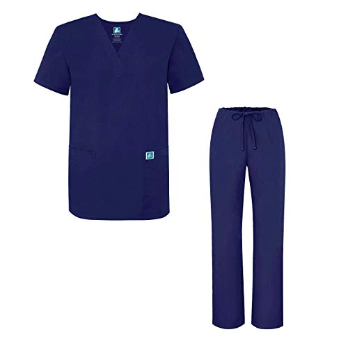 Adar Universal Unisex Medical Uniform - Unisex Drawstring Scrub Set - 701 - Navy - L