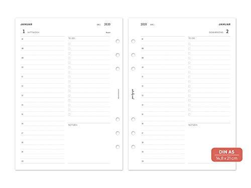 pen & pages® 2020 - Calendario (agenda diaria, DIN A5-6 agujeros, calendario de Daily Schedule, organizador A5, 1 día en 1 página, de enero a diciembre, 14,8 x 21 cm)