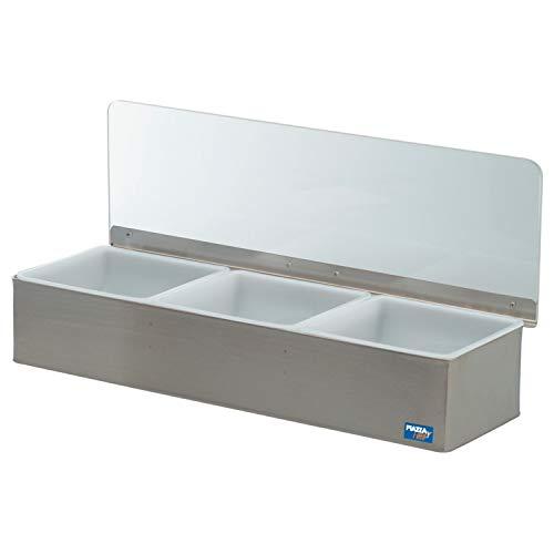 Piazza 479803 toaletthållare i stål med 3 behållare, 45 cm lång, 15 cm bred, 9 cm höjd