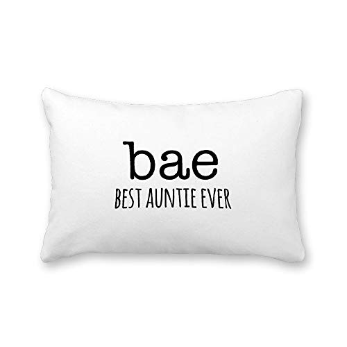 TattyaKoushi Satin Pillow Covers for Hair and Skin Pillowcase with Inspirational Quote, Bae, Best Auntie Ever Queen Size Pillow Case Cover 20 x 30 Inch for Bedroom Funny Housewarming Gift