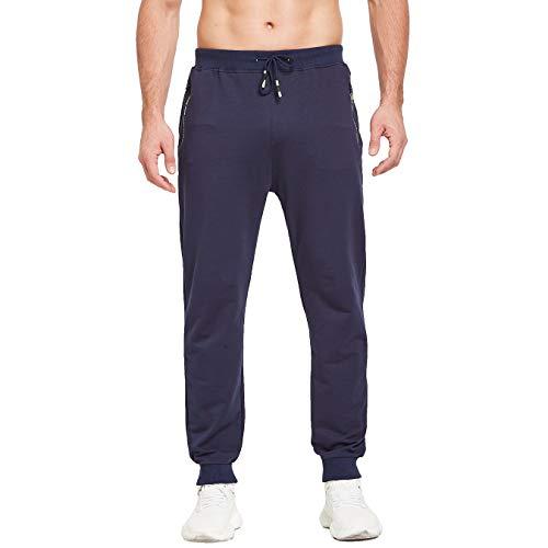 ZOXOZ Jogginghose Herren Baumwolle Trainingshose Herren Sporthose Lang Hosen Herren Sweatpants Männer Hose mit Reissverschluss Taschen Blau M