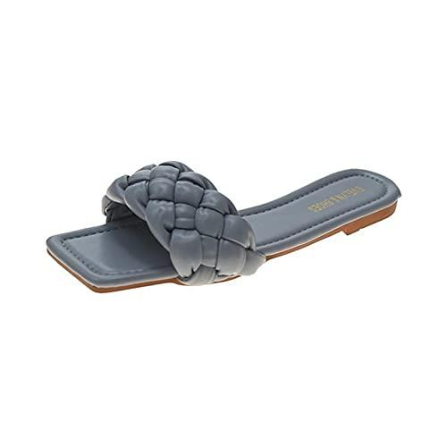 Sandalen, slippers effen kleur open vierkante teen plat, comfortabele sandalen voor vrouwen
