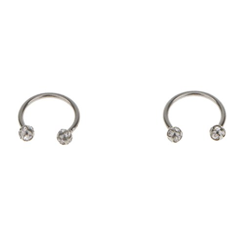 F Fityle 2Pcs Crystal Stainless Steel Bar Lip Nose Ring Stud Body Piercing