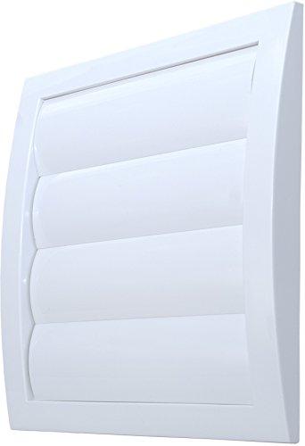 L3 Lüftungsgitter Abschlussgitter Ø 150 mm weiß mit Schwerkraftlamellen Jalousie und Insektennetz Gitter ABS Kunststoff witterungsbeständig Insektenschutz bewegliche Lamellen Rückstauklappe Verschlussklappe Ablufthaube Wetterschutzgitter Haube