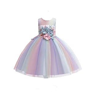 Suerba キッズ ドレス フォーマル 虹色チュールドレス 子供 ワンピース 花柄 結婚式 発表会 演奏会 (150cm)