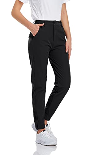 Koscacy Ankle Pants for Women,Golf Pant Stretch Work Casual Ladies Pant Slim Lightweight with Pockets Low Rise Elegant Dress Pants for Business Casual Black S