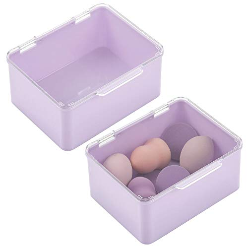 mDesign Plastic Stackable Bathroom Vanity Countertop Storage Hair Accessory Organizer Box with Hinged Lid for Makeup Beauty Hair Nail Supplies 2 Pack - Light PurpleClear