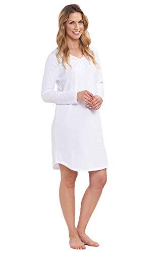 Rösch Damen Basic-Nachthemd Langarm Schlafshirt mit dezenter Spitze aus 100% Baumwolle und mit V-Ausschnitt aus der Serie SMART Casual, Gr. 36-50, Art-Nr. 1884157 42 White