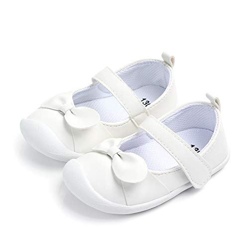 LACOFIA Baby Mädchen Ballerinas Kleinkind Klettverschluss rutschfest Lauflernschuhe Weiß 22