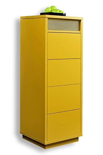 Schubladenturm Kommode Sideboard Schubkastenschrank mit Ablage 5 Farben, Farbe:Orange