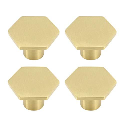 Sechskant-Möbelknöpfe aus massivem Messing, Schrankgriff aus reinem Kupfer mit Schrauben für die Schranktür, Schranktüren und Kommodenschubladen (30 mm * 21 mm) (4 Stück)